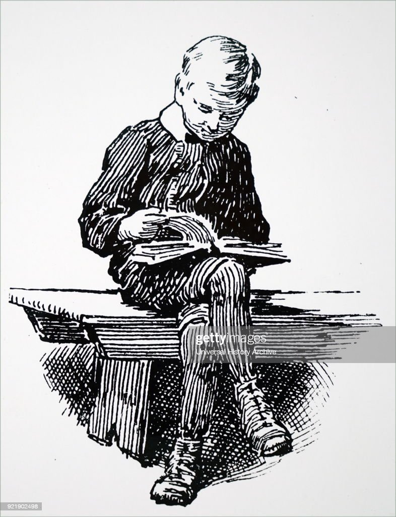 Illustration depicting a little boy learning to read at a Stockport Sunday School. Dated 19th century.