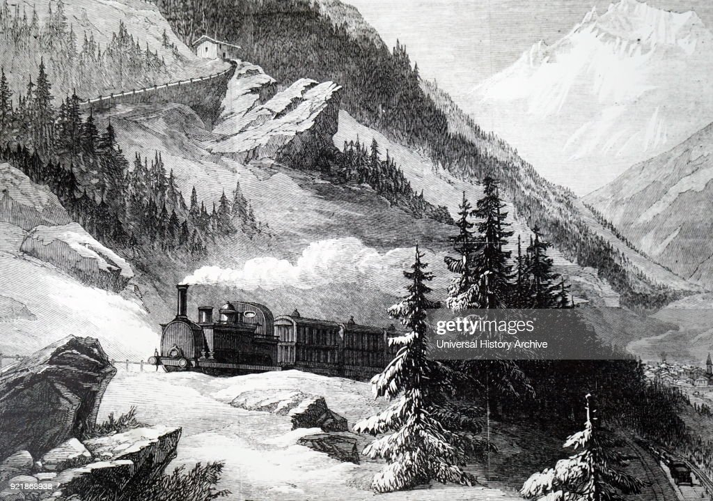 Illustration depicting a locomotive pulling a train towards the Mont Cenis Tunnel which linked France with Italy. This was the first of the great alpine tunnels to be completed. Dated 19th century.