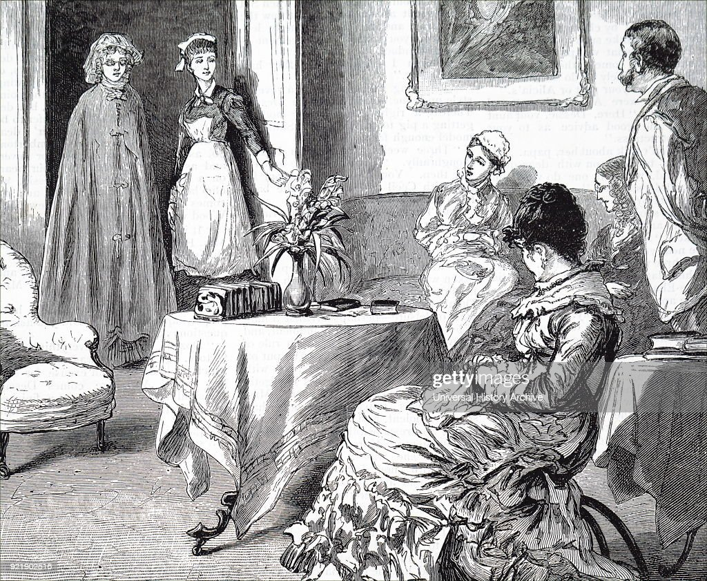Illustration depicting a maid showing in a visitor. On the table is a small telescopic book rack. Dated 19th century.