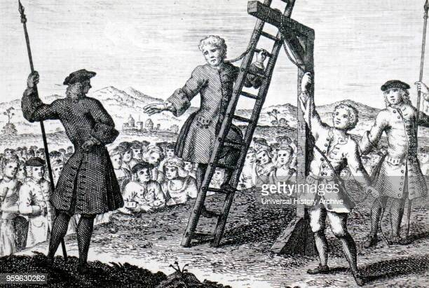 Illustration depicting a man being executed for murdering his wife Dated 18th Century