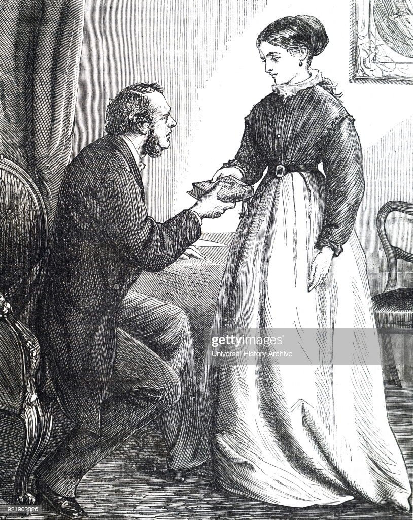 Illustration depicting a man gifting his lover a book as he bids her farewell. Dated 19th century.