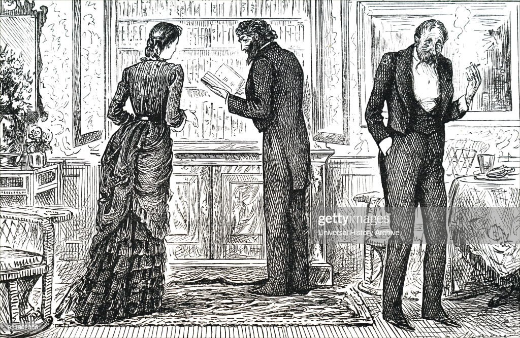 Illustration depicting a man looking through a bookshelf inside the home of his hostess. Dated 19th century.