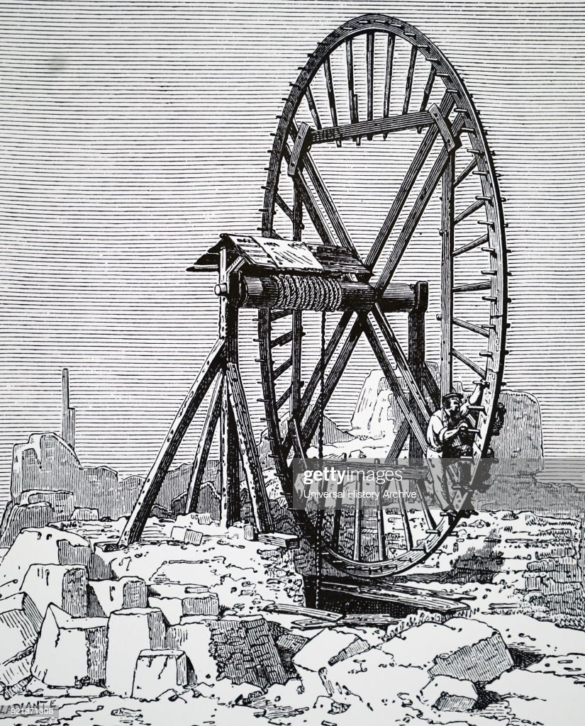 Illustration depicting a man using a tread wheel to raise blocks of stone. Dated 19th century.