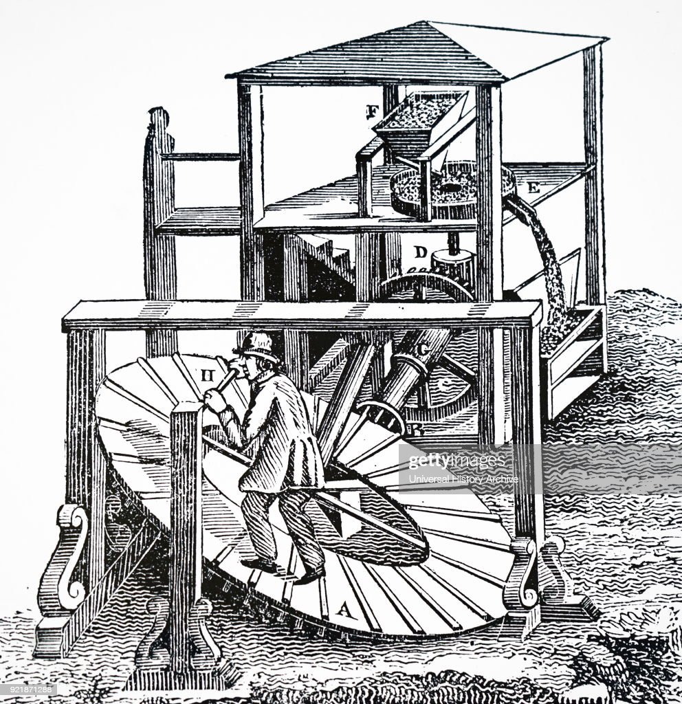 Illustration depicting a man working an inclined tread wheel. Dated 18th century.