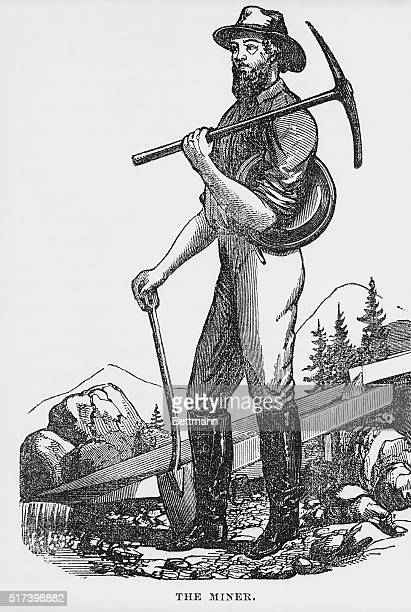 Illustration depicting a miner during the California Gold Rush He is shown in a mountain landscape holding a pick shovel and pan Undated woodcut