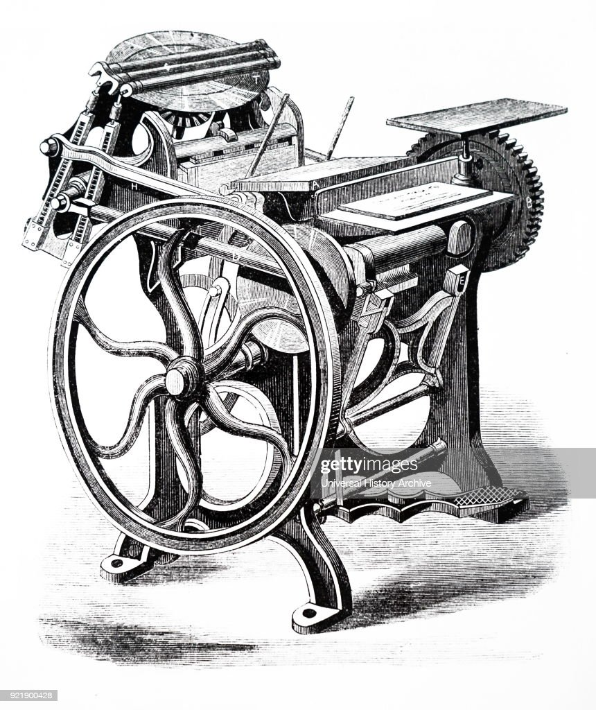 Illustration depicting a 'Minerva' printing press for small work usually carried out in a hand press, and workable by hand or by power. Dated 19th century.