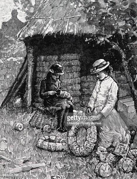 Illustration depicting a mother and child prepare packing punnets in order for them to be taken to the strawberry fields Dated 19th Century