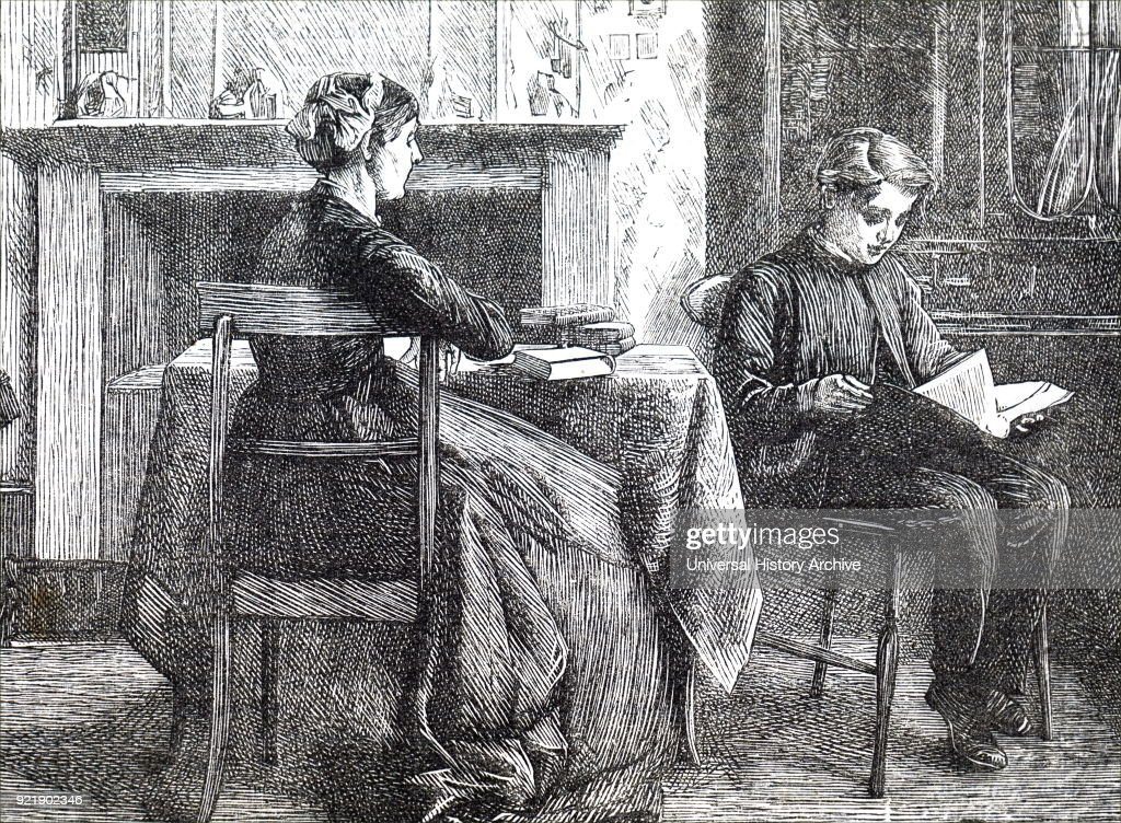 Illustration depicting a mother and son spending a quiet Sunday afternoon reading. Dated 19th century.