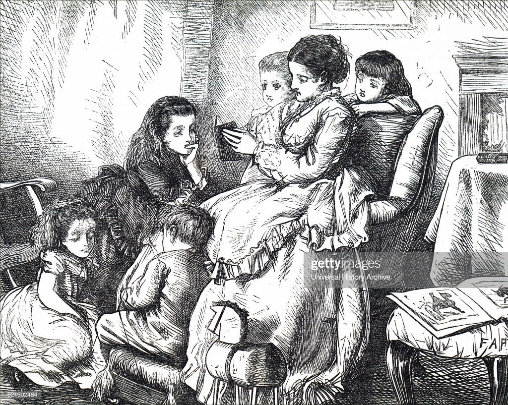 Illustration depicting a mother reading to her family. Dated 19th century.