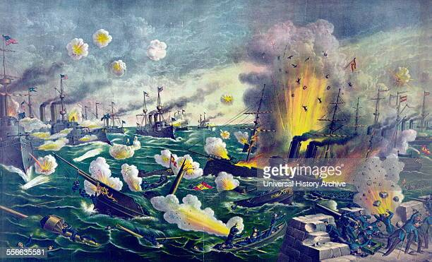 Illustration depicting a naval battle off Cative during the Spanish American War Dated 1898