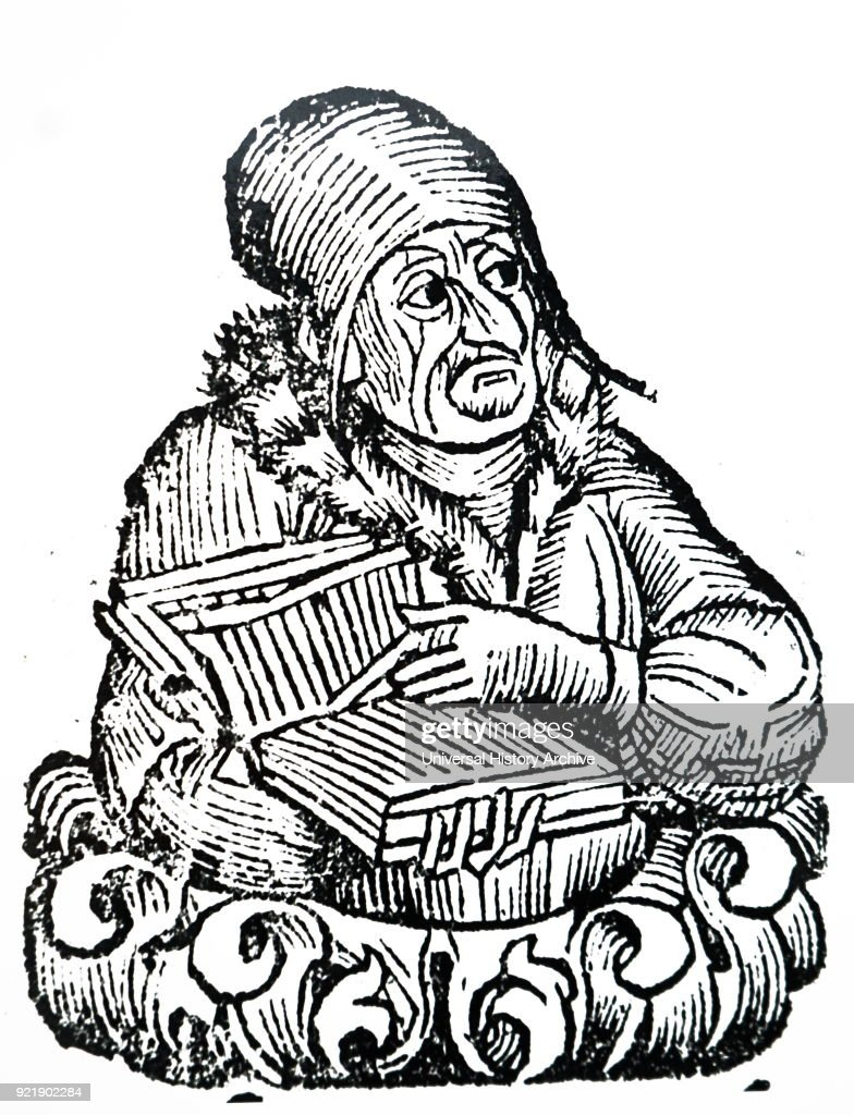 Illustration depicting a philosopher holding a book. Dated 15th century.