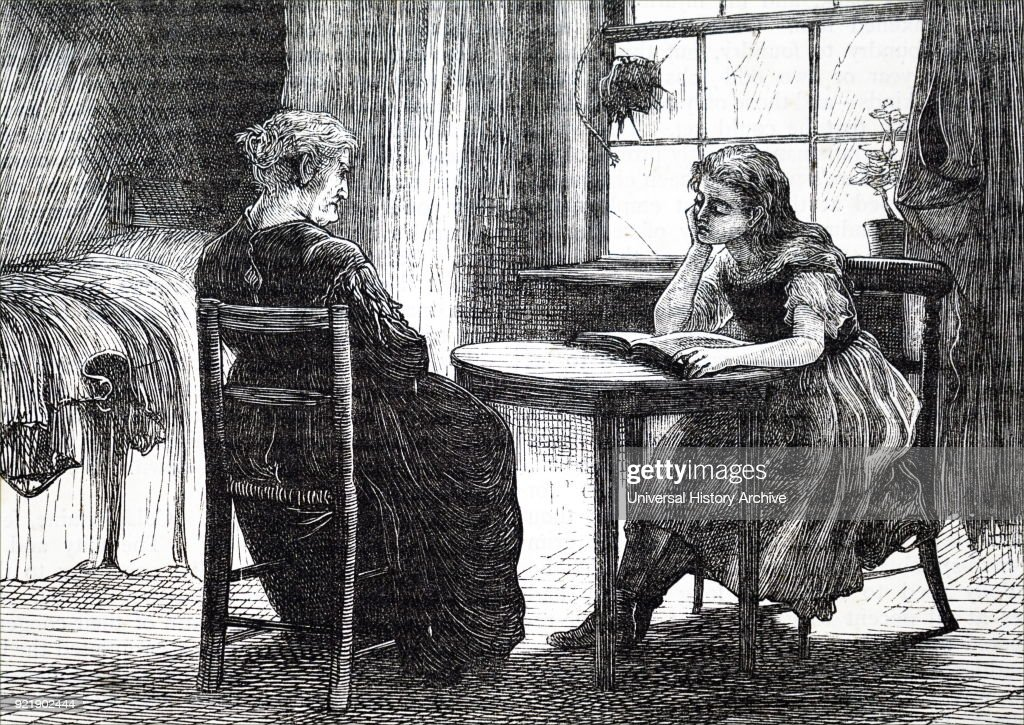 Illustration depicting a poor girl learning to read. Dated 19th century.