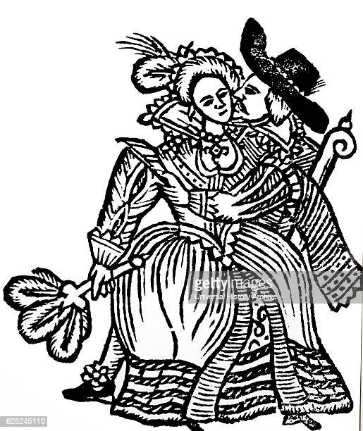 Illustration depicting a popular Elizabethan ballad with a Happy Couple Dated 16th Century