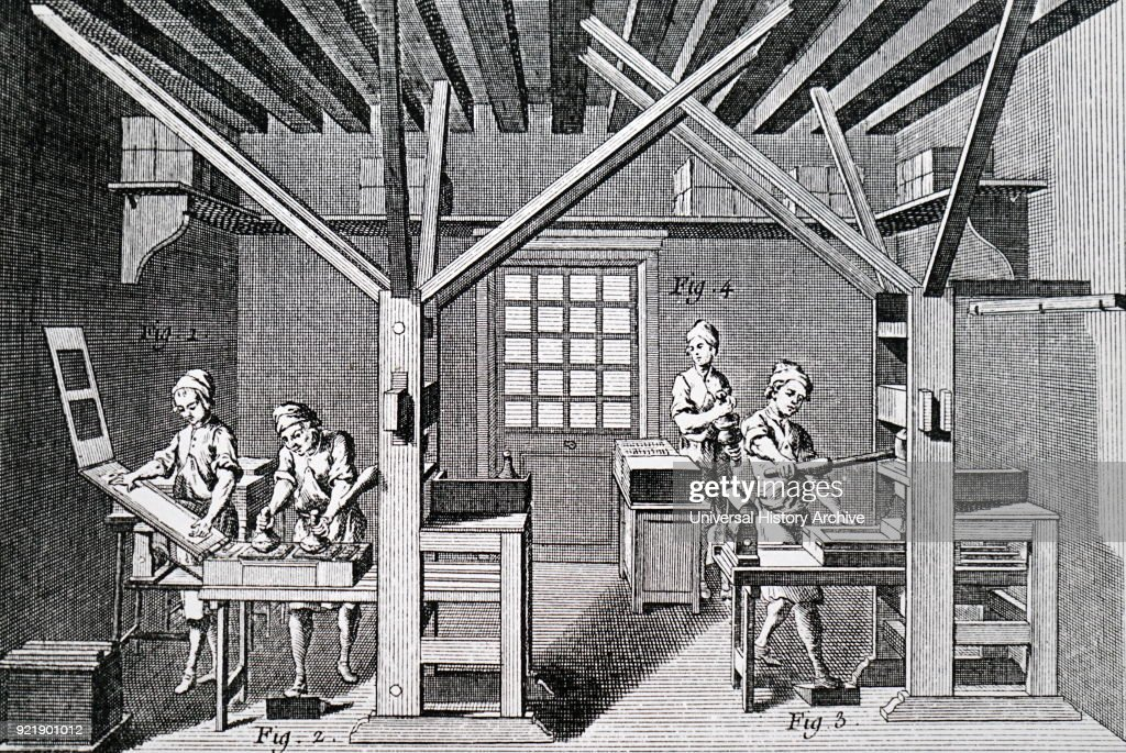 Illustration depicting a printer's workshop. Dated 18th century.