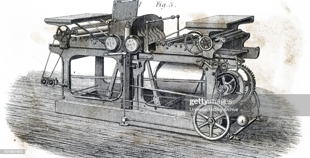Illustration depicting a printing machine driven by a steam engine heated by solar power collected by the reflector in the centre. Dated 19th century.