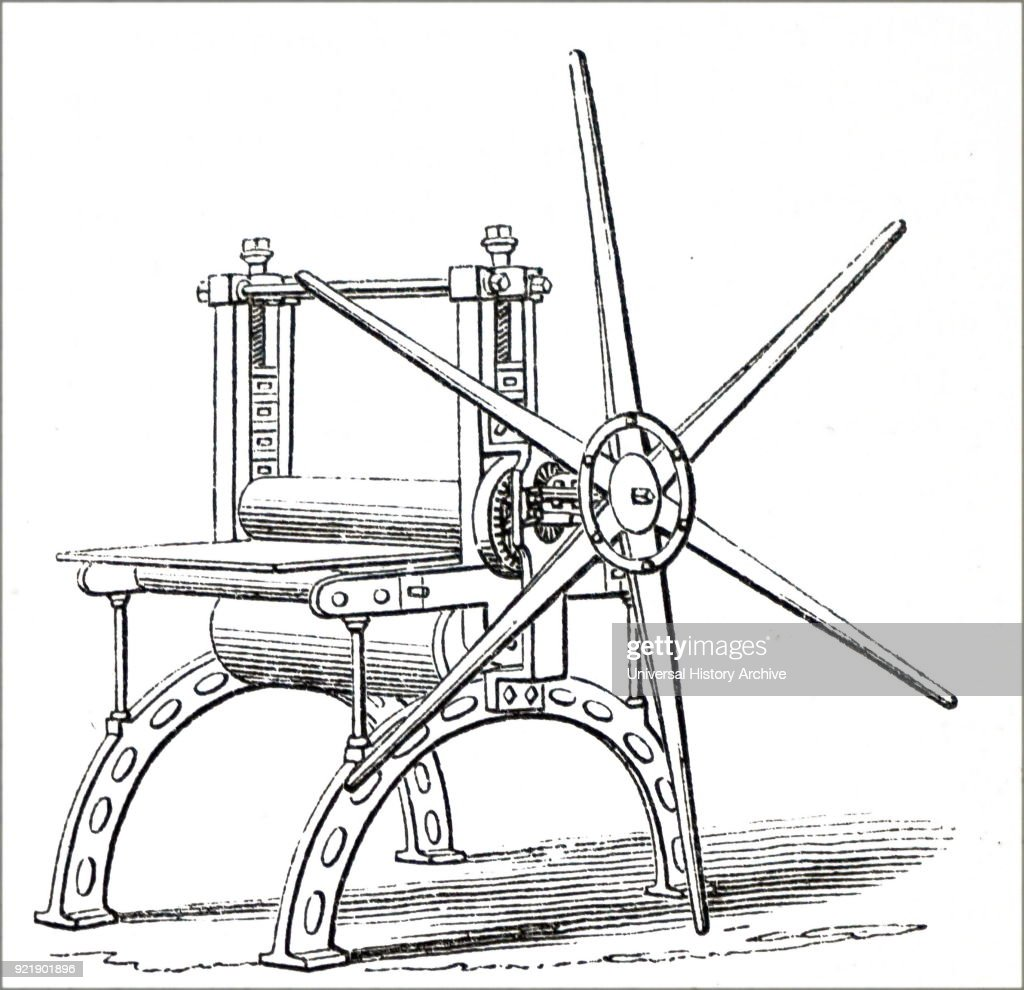 Illustration depicting a printing press. Dated 19th century.