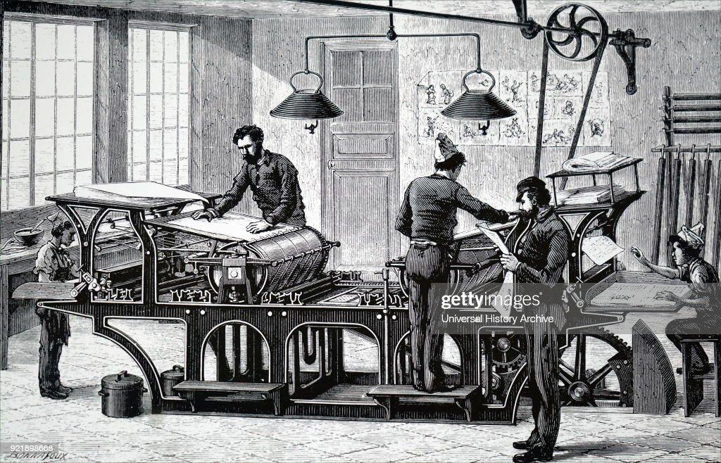 A printing press powered by a steam engine. : News Photo