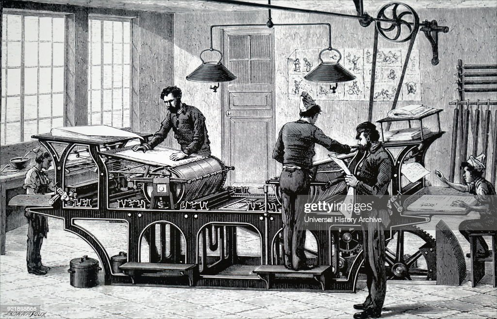 Illustration depicting a printing press powered by a steam engine. Power was brought to the machine by an overhead shaft and a belt drive.
