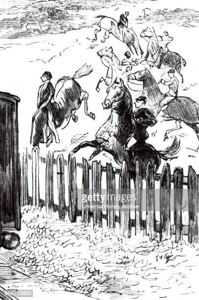 Illustration depicting a racehorse spooked by a passing train, on the Berkshire Downs. Dated 19th century.