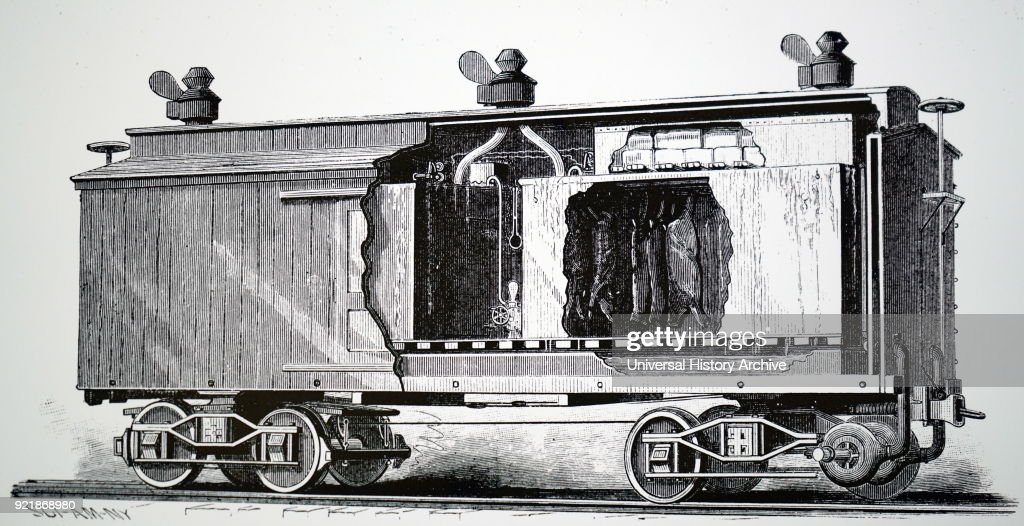 Illustration depicting a refrigerating railroad car patented by Henry Tallichet of Austin, Texas. Dated 19th century.