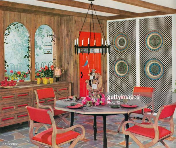 Illustration depicting a Retro dinning area from the Amstrong Book of Interior Decoration Dated 1962