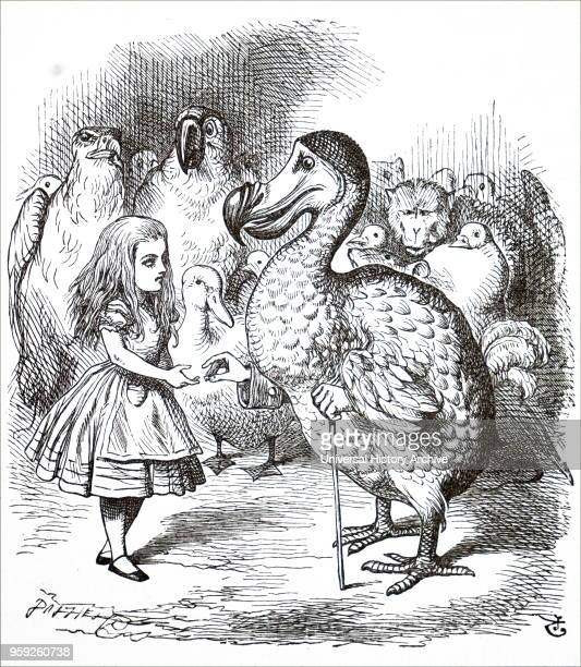 Illustration depicting a scene from Lewis Carroll's 'Through the LookingGlass and What Alice Found There' Alice having taken part in the Caucus race...