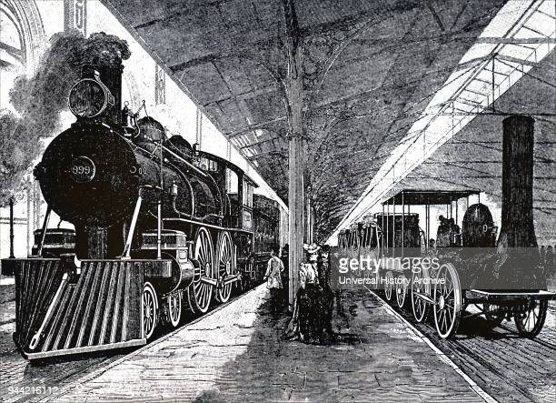 Illustration depicting a scene from the Chicago World Fair exhibition of locomotives Dated 19th century