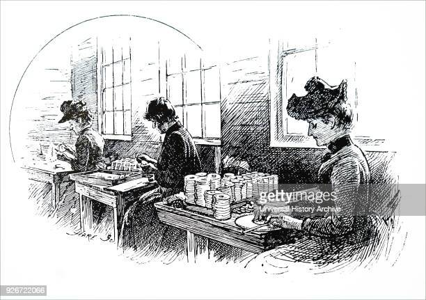 Illustration depicting a scene within the CT Brock Co's firework factory The women are making pinwheel fireworks Dated 19th century
