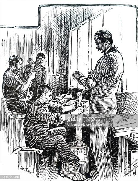 Illustration depicting a scene within the CT Brock Co's firework factory The men are wearing nailless safety boots which could cause no sparks and...