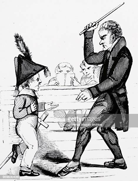 Illustration depicting a schoolmaster administrating corporal punishment Dated 19th Century