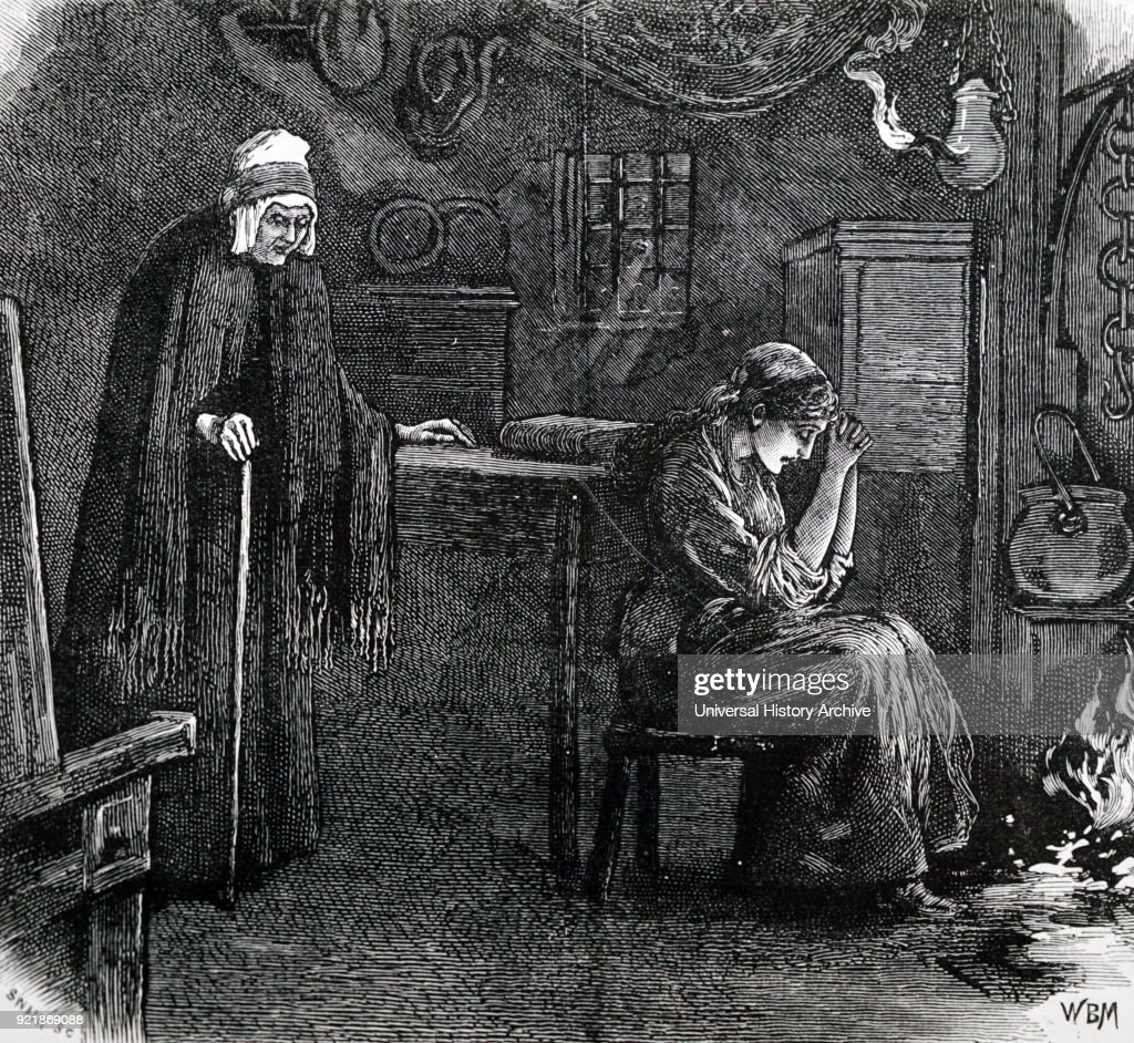 Illustration depicting a Shetland domestic interior showing a primitive oil lamp. Dated 19th century.