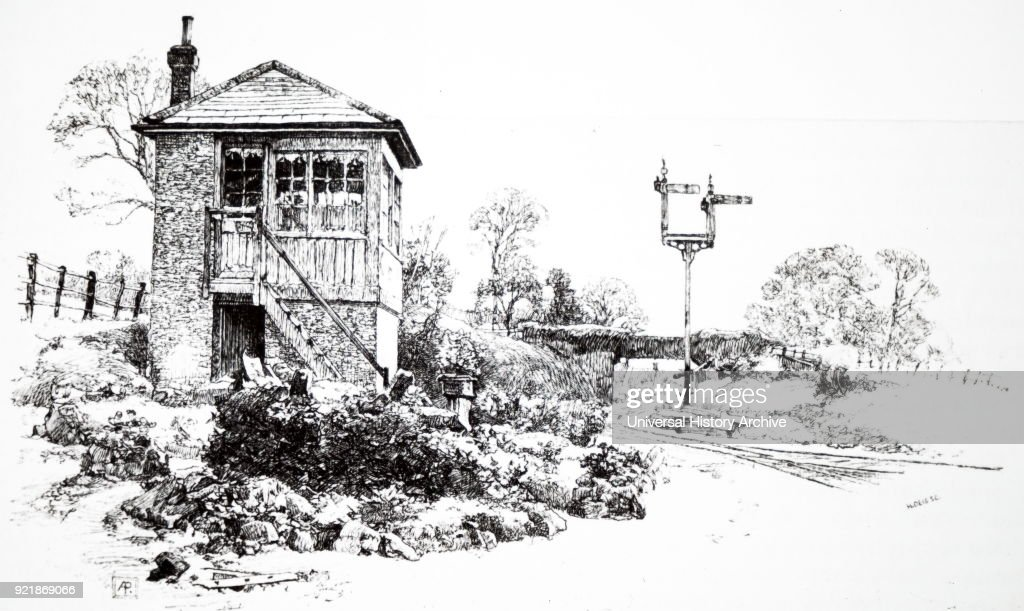 Illustration depicting a signal box used to communicate with trains and other signal boxes. Dated 19th century.