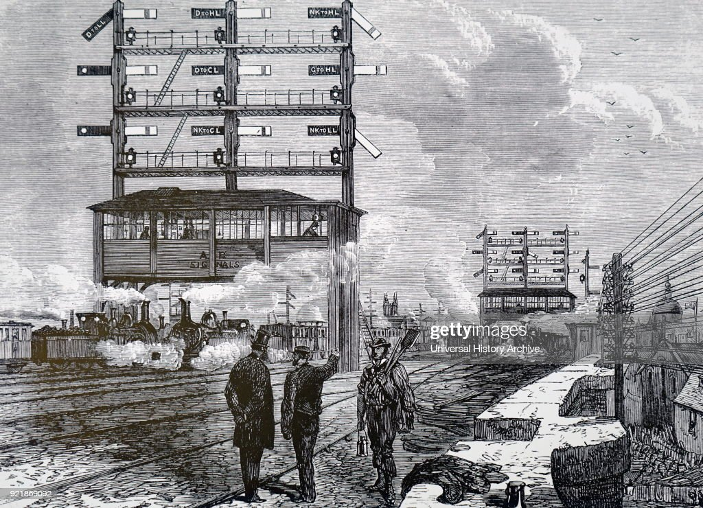 Illustration depicting a signal gantry at London Bridge Station. Dated 19th century.