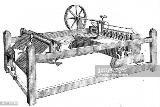 Illustration depicting a SlubbingBilly used to spin carded wool into rovings' Dated 19th Century