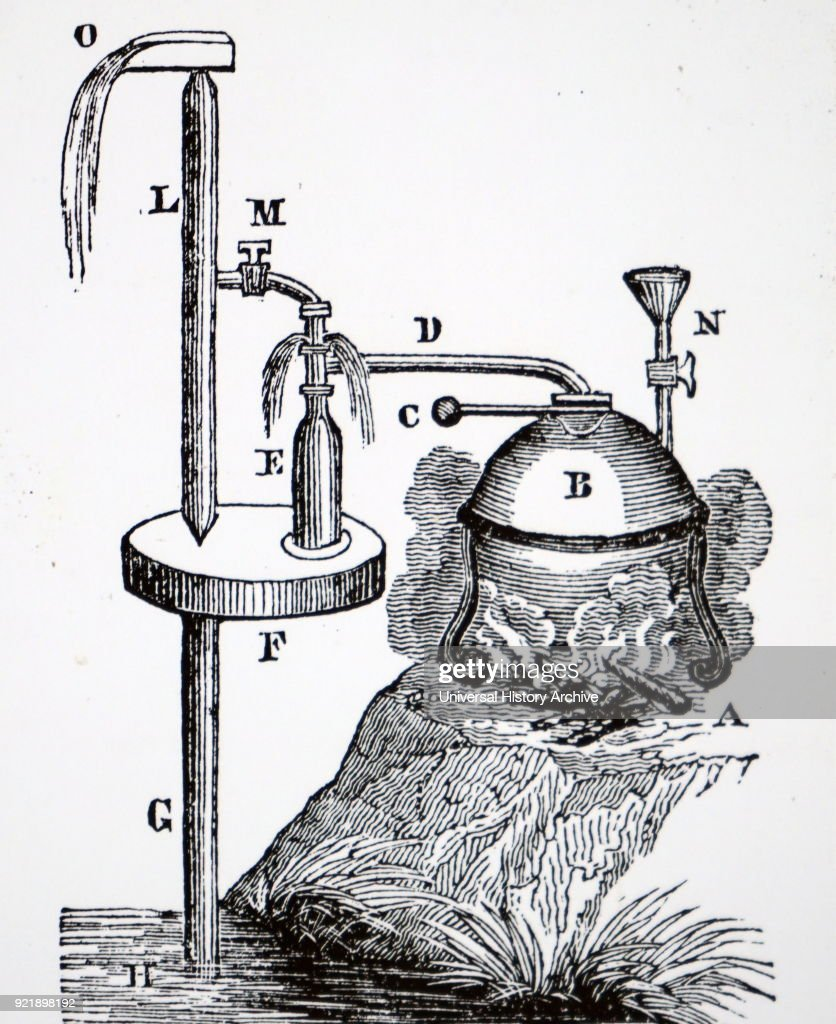 Illustration depicting a small steam engine with one receiver used for raising water. Dated 19th century.