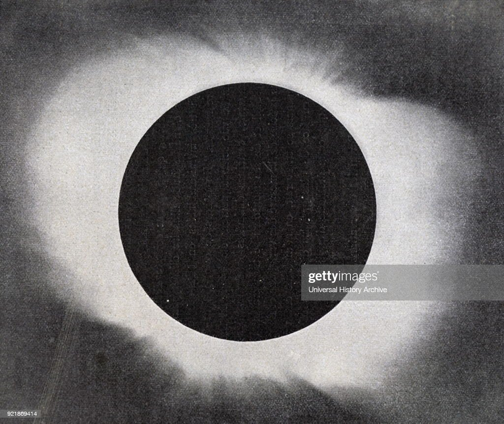 Illustration depicting a solar corona. A corona is an aura of plasma that surrounds the sun and other stars. The Sun's corona extends millions of kilometres into space and is most easily seen during a total solar eclipse, but it is also observable with a coronagraph. Dated 20th century.
