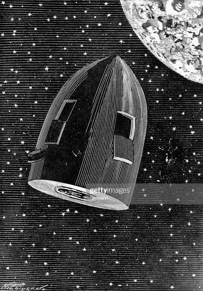 Rocket Capsule Illustration from the 1872 Edition of From the Earth to the Moon by Jules Verne : News Photo