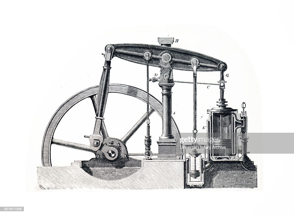 Illustration depicting a steam engine with beam supported on a single pillar. Dated 19th century.