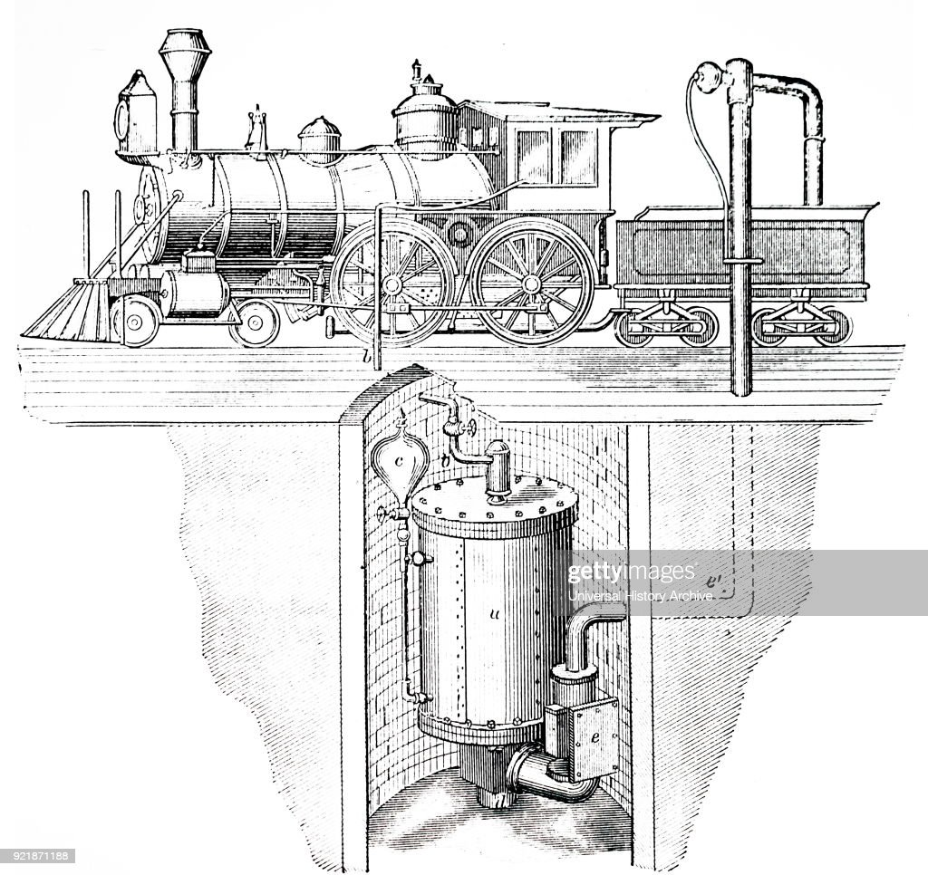 Illustration depicting a steam locomotive. A flywheel is mounted on the side of the boiler, and the governor is positioned towards the rear. Dated 19th century.