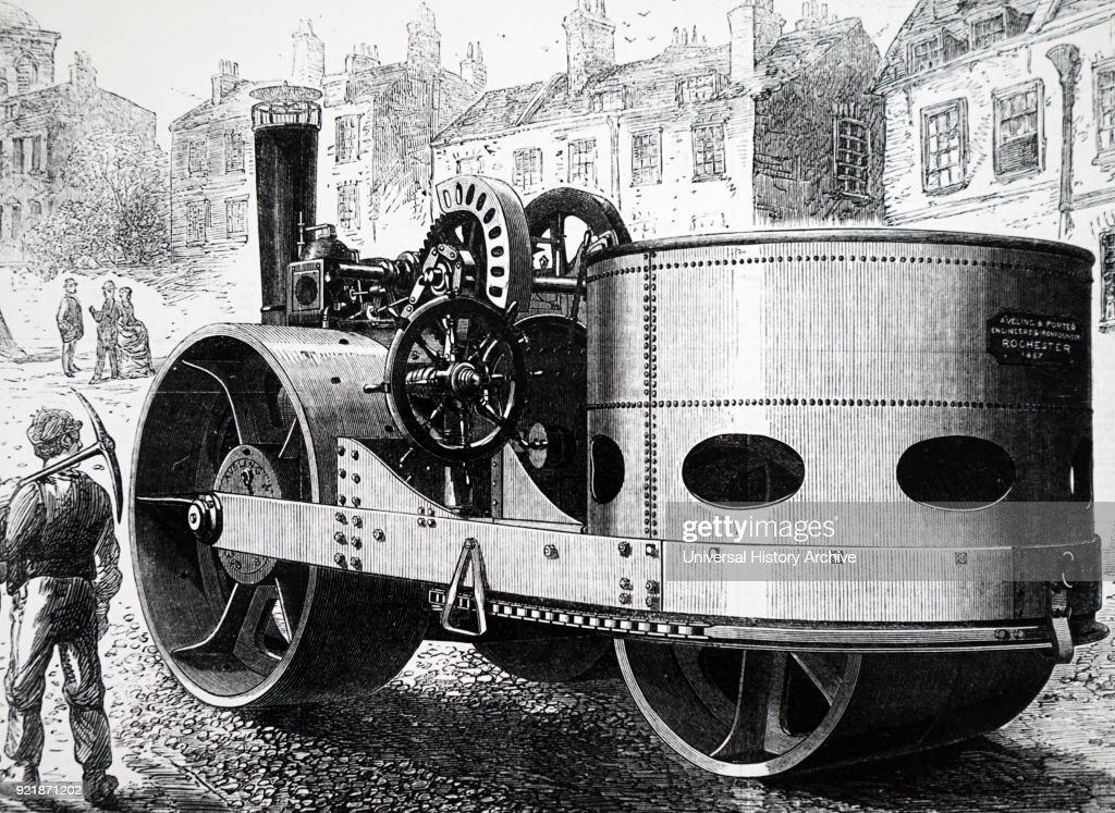 Illustration depicting a steam powered road roller built for the city of Liverpool. Dated 19th century.