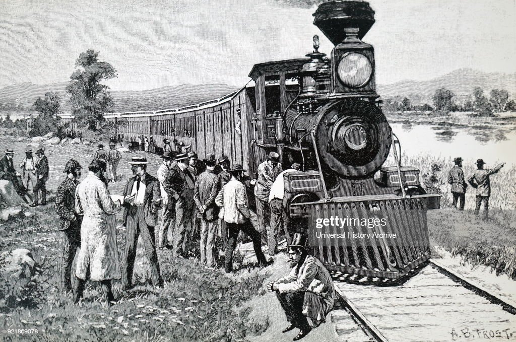 Illustration depicting a steam train which has broken-down mid journey. Dated 19th century.