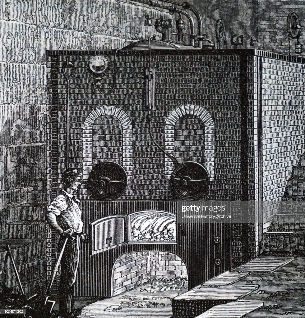 Illustration depicting a stoker at the door of a steam furnace. Dated 19th century.