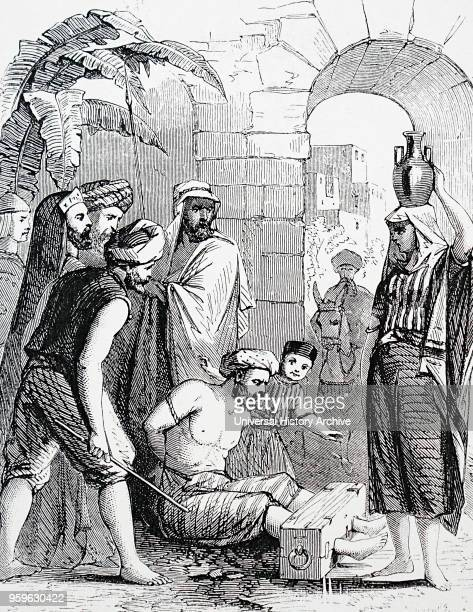 Illustration depicting a Syrian criminal being punished in the stocks Dated 19th Century