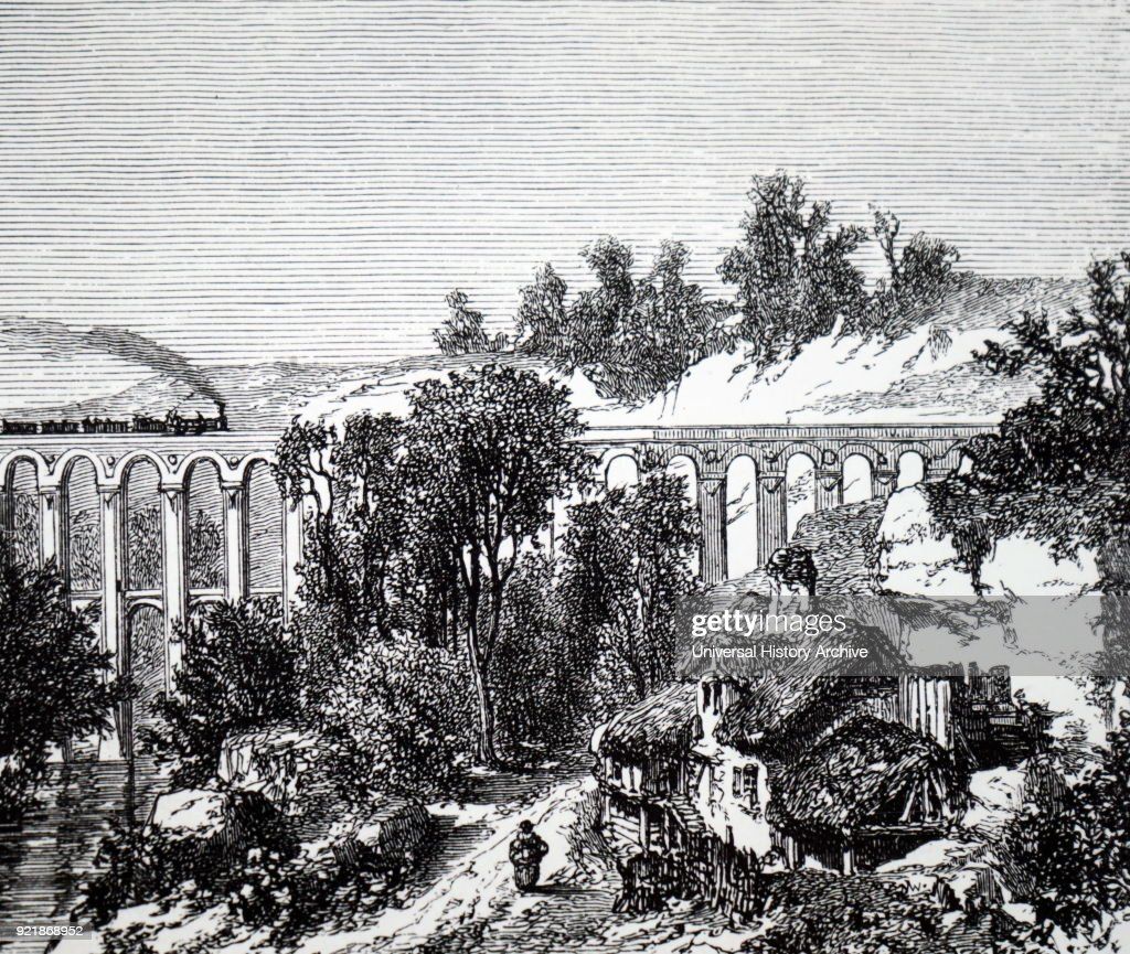 Illustration depicting a train crossing a viaduct near a remote farmstead. Dated 19th century.