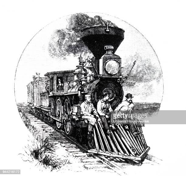 Illustration depicting a train with a cowcatcher Dated 19th century
