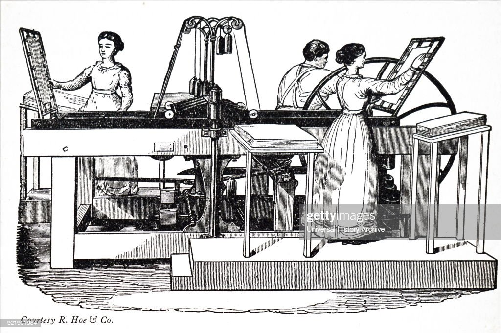 Illustration depicting a Treadwell press. Dated 19th century.
