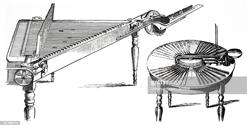 Illustration depicting a type-composing and distributing machines. Dated 19th century.