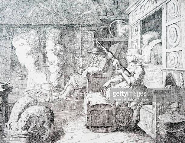 Illustration depicting a typical 17th Century peasant cottage with an elderly husband and young wife. Dated 17th Century.
