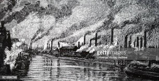 Illustration depicting a view of Leeds, showing the pollution of factory and mill chimneys. Dated 19th century.