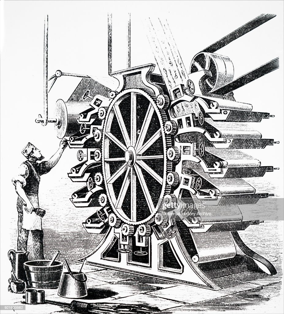 Illustration depicting a wallpaper printing machine. Dated 19th century.